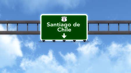 santiago: Santiago de Chile Highway Road Sign