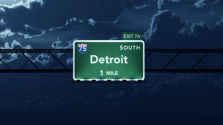 interstate: Detroit USA Interstate Highway Road Sign