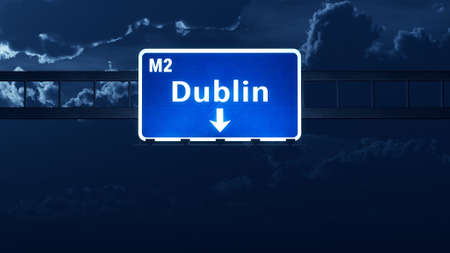 irish cities: Dublin Ireland United Kingdom Highway Road Sign Stock Photo