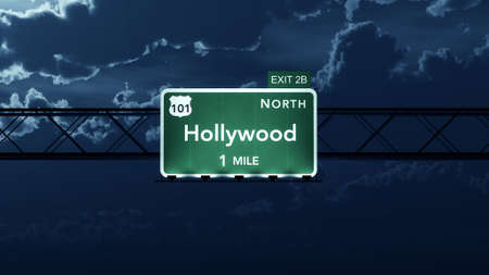 north hollywood: Hollywood USA Interstate Highway Road Sign