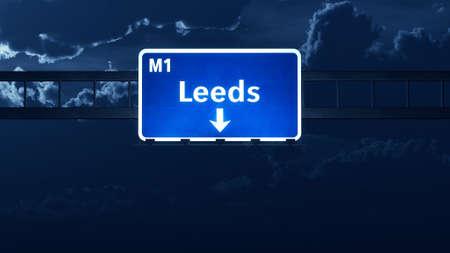 leeds: Leeds England United Kingdom Highway Road Sign Stock Photo