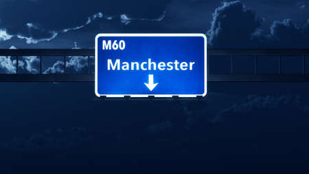 manchester: Manchester England United Kingdom Highway Road Sign Stock Photo