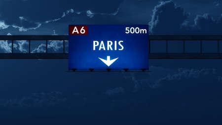 Paris France Highway Road Sign