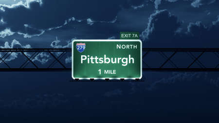 interstate: Pittsburgh USA Interstate Highway Road Sign Stock Photo