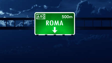 roma: Roma Italy Highway Road Sign