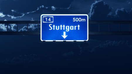 Stuttgart Germany Highway Road Sign Stock Photo