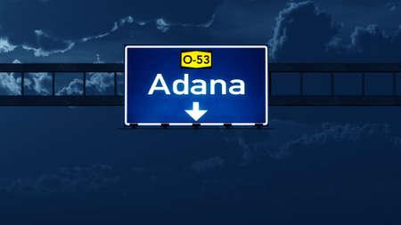 highway night: Adana Turkey Highway Road Sign at Night