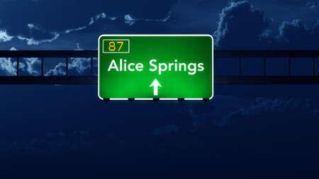 highway night: Alice Springs Australia Highway Road Sign at Night