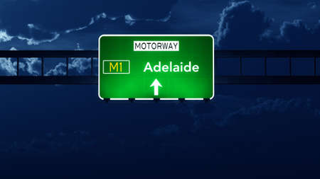highway night: Adelaide Australia Highway Road Sign at Night