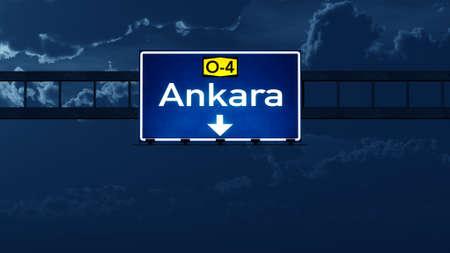 afterglow: Ankara Turkey Highway Road Sign at Night