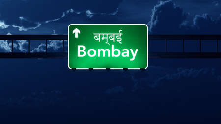 bombay: Bombay India Highway Road Sign at Night