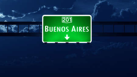 buenos aires: Buenos Aires Argentina Highway Road Sign at Night Stock Photo