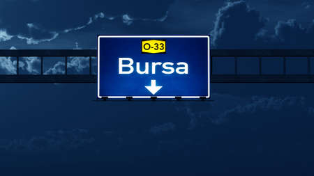 bursa: Bursa Turkey Highway Road Sign at Night