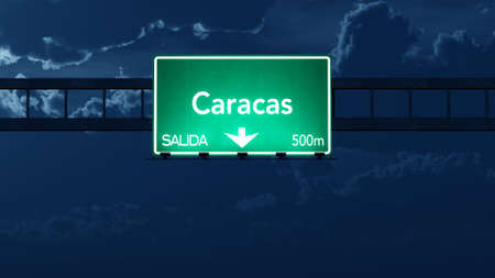 caracas: Caracas Venezuela Highway Road Sign at Night