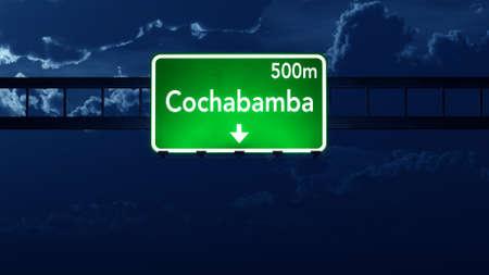 cochabamba: Cochabamba Bolivia Highway Road Sign at Night