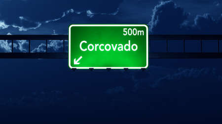 corcovado: Corcovado Brazil Highway Road Sign at Night Stock Photo
