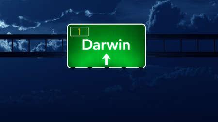 darwin: Darwin Australia Highway Road Sign at Night