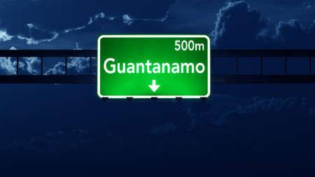guantanamo: Guantanamo Cuba Highway Road Sign at Night