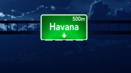 havana cuba: Havana Cuba Highway Road Sign at Night