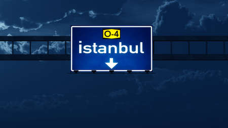 highway night: Istanbul Turkey Highway Road Sign at Night