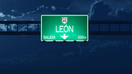 leon: Leon Mexico Highway Road Sign at Night