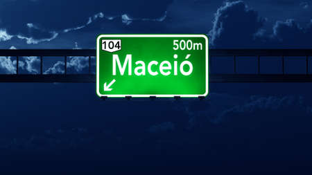 highway night: Maceio Brazil Highway Road Sign at Night Stock Photo