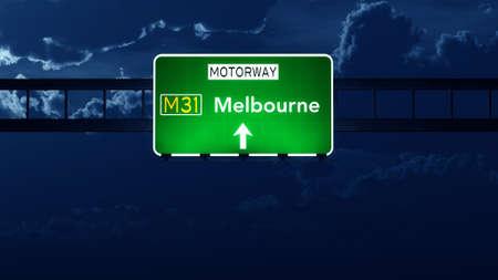 melbourne: Melbourne Australia Highway Road Sign at Night