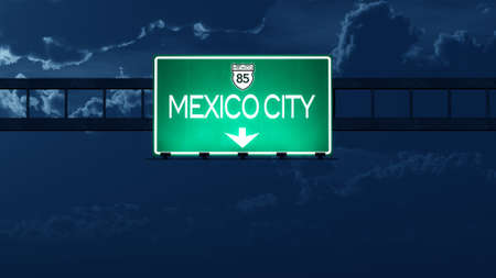 mexico city: Mexico City Highway Road Sign at Night