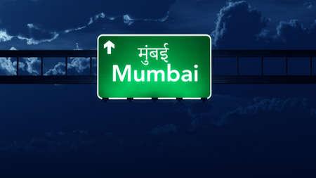 highway night: Mumbai India Highway Road Sign at Night Stock Photo