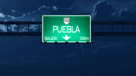 highway night: Puebla Mexico Highway Road Sign at Night Stock Photo