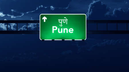 pune: Pune India Highway Road Sign at Night