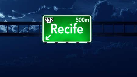 highway night: Recife Brazil Highway Road Sign at Night