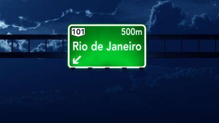 highway night: Rio De Janeiro Brazil Highway Road Sign at Night