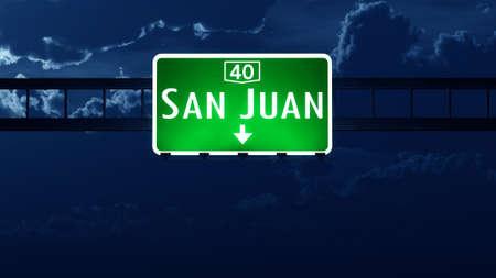 san juan: San Juan Argentina Highway Road Sign at Night Stock Photo