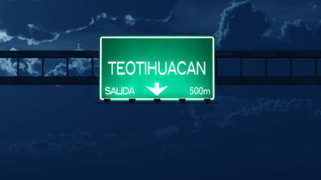 gloom: Teotihuacan Mexico Highway Road Sign at Night Stock Photo