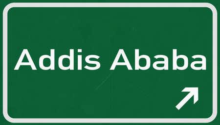 addis: Addis Ababa Ethiopia Highway Road Sign Stock Photo