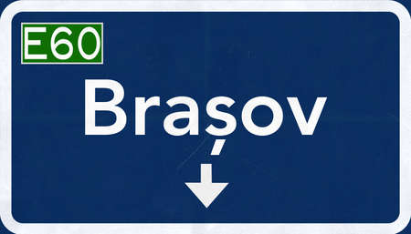 eastern europe: Brasov Romania Highway Road Sign