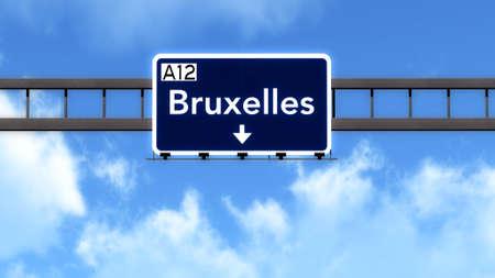 bruxelles: Bruxelles Belgium Highway Road Sign Stock Photo