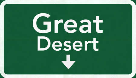 Great Desert Australia Highway Road Sign photo
