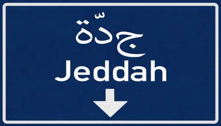 saudi arabia: Jeddah Saudi Arabia Highway Road Sign Stock Photo