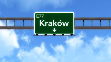 krakow: Krakow Poland Highway Road Sign