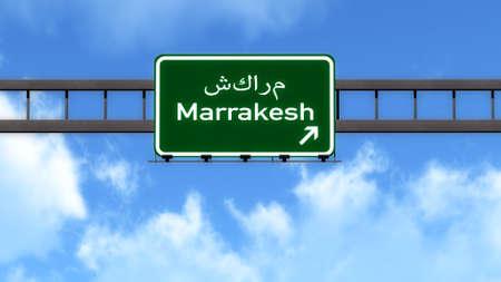 Marrakesh Morocco Africa Highway Road Sign