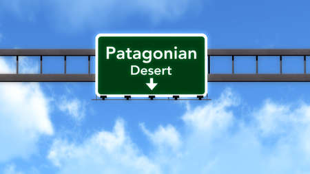 south america: Patagonian Desert South America Highway Road Sign Stock Photo