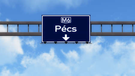 eastern europe: Pecs Hungary Highway Road Sign Stock Photo