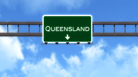 queensland: Queensland Australia Highway Road Sign Stock Photo