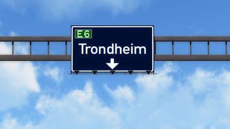 norway: Trondheim Norway Highway Road Sign