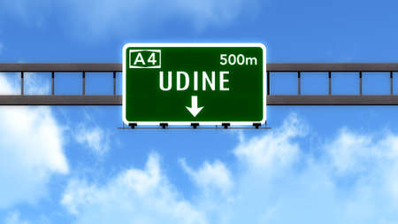 Udine Italy Highway Road Sign Stock Photo