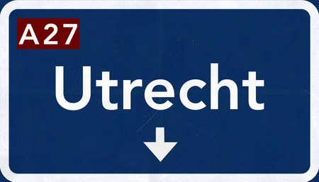Utrecht Netherlands Highway Road Sign Stock Photo