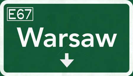 warsaw: Warsaw Poland Highway Road Sign Stock Photo