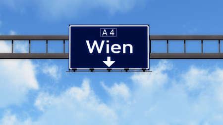 wien: Wien Austria Highway Road Sign Stock Photo